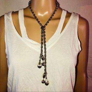 Vintage rope chain Y tassel necklace